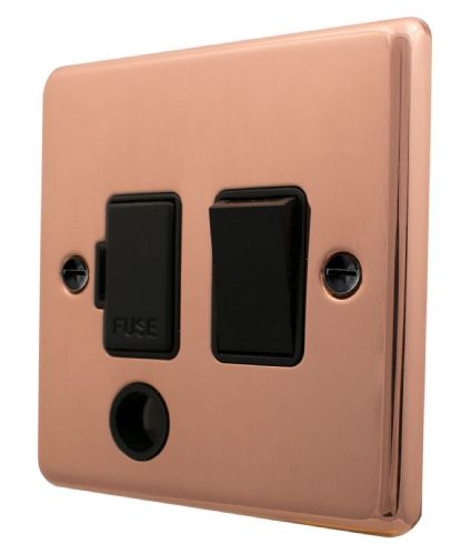 G&H CBC56B Standard Plate Bright Copper 1 Gang Fused Spur 13A Switched & Flex Outlet